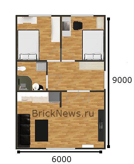 Планировка небольшого дома, вид сверху
