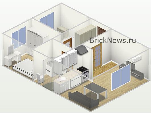 План небольшого дома в 3D